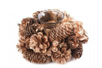 Gold Christmas Pinecone Single Candle Holder